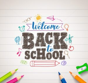 Back to School Vector Drawing in White Paper with Colorful Crayons - Amazeindesign