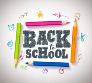Back to School Vector Typography Banner Design with Colorful Crayons - Amazeindesign