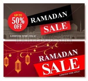 Ramadan Sale Vector Banner Designs Set for Shopping Discount - Amazeindesign