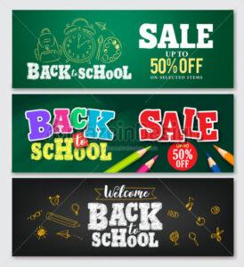 Set of Vector Banner Back to School Designs - Amazeindesign