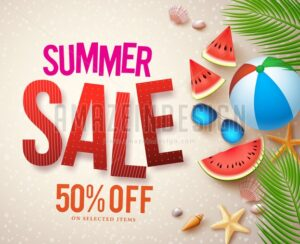 Vector Summer Sale Banner Design with Red Sale Text - Amazeindesign