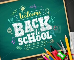 Welcome Back to School Text Drawing by Colorful Chalk in Blackboard - Amazeindesign