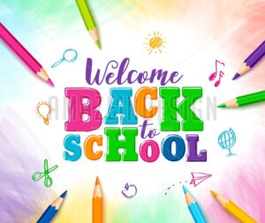 Welcome Back to School Vector Design with Colorful Text - Amazeindesign
