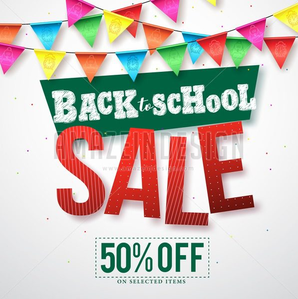 Back to school sale vector design with colorful streamers - Amazeindesign
