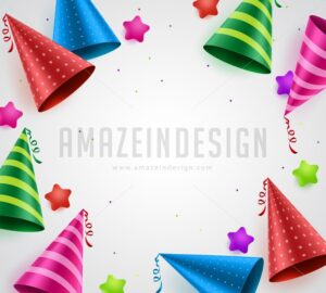 Birthday party celebration vector background with white empty space for text - Amazeindesign