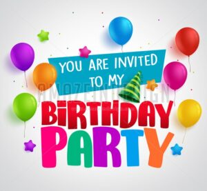 Birthday party invitation background vector design with greetings - Amazeindesign
