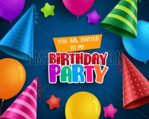Birthday party vector invitation greeting card design with colorful birthday hats - Amazeindesign