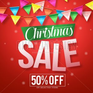 Christmas sale vector banner design with colorful streamers - Amazeindesign