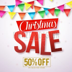 Christmas sale vector banner design with red text - Amazeindesign