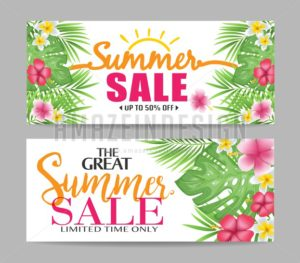 Floral Summer Sale Banners with Tropical Leaves - Amazeindesign