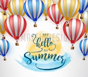 Flying Hot Air Balloon with Say Hello to Summer Message - Amazeindesign