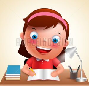 Girl kid vector character happy studying school homework - Amazeindesign
