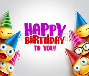 Happy Birthday Greeting with Smileys Vector Background - Amazeindesign