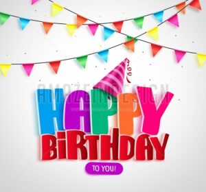 Happy Birthday Vector Banner Design with Colorful Text Written and Streamers - Amazeindesign