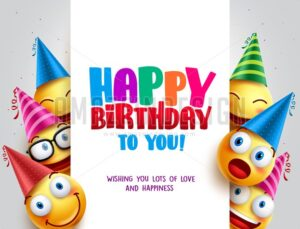 Happy Birthday Vector Design with Smileys Wearing Birthday Hat - Amazeindesign
