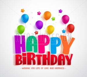 Happy Birthday Vector Greeting Card Design for Invitations and Celebration - Amazeindesign
