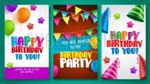 Happy birthday vector banner designs set with colorful elements - Amazeindesign