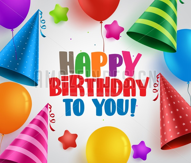 Happy Birthday Vector Greeting Card Background Design With Colorful