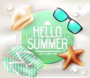 Hello Summer Greeting on Circle Tag - Amazeindesign