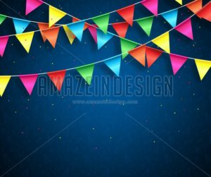 Streamers background design with birthday patterns and colorful confetti - Amazeindesign