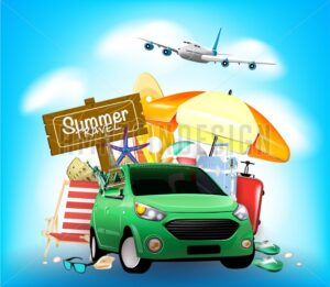 Summer Travel Sign on Blue Background with Car - Amazeindesign