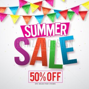 Summer sale vector banner design with colorful streamers hanging - Amazeindesign