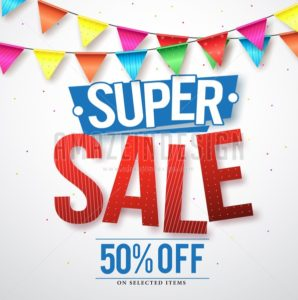 Super sale vector design with 50% off and streamers - Amazeindesign