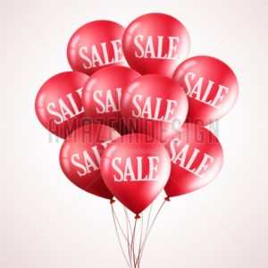 Bunch of Red Vector Balloons with Sale Text Flying Up - Amazeindesign