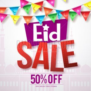 Eid sale vector banner design with colorful streamers - Amazeindesign