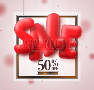 Sale balloons red 3D text hanging in white square - Amazeindesign