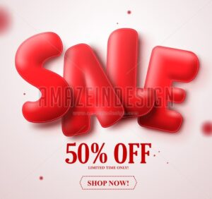 Sale red balloon 3D text vector banner design with 50% - Amazeindesign