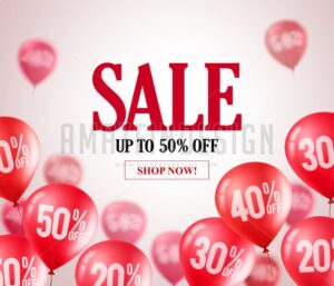 Sale red balloons vector banner flying red balloons - Amazeindesign