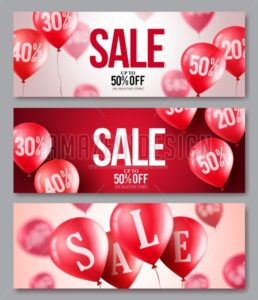 Sale vector balloons banner set of flying balloons - Amazeindesign