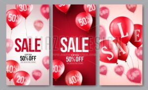 Sale vector balloons poster set of flying balloons - Amazeindesign