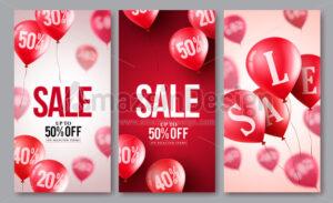 Sale vector balloons poster set of flying balloons - Amazeindesign