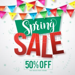 Spring sale vector banner with colorful streamers - Amazeindesign