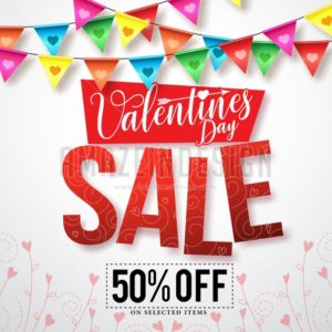 Valentines sale vector banner design with streamers - Amazeindesign