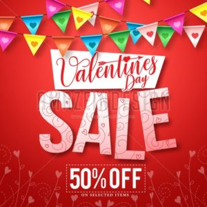 Valentines sale vector design with hanging streamers - Amazeindesign