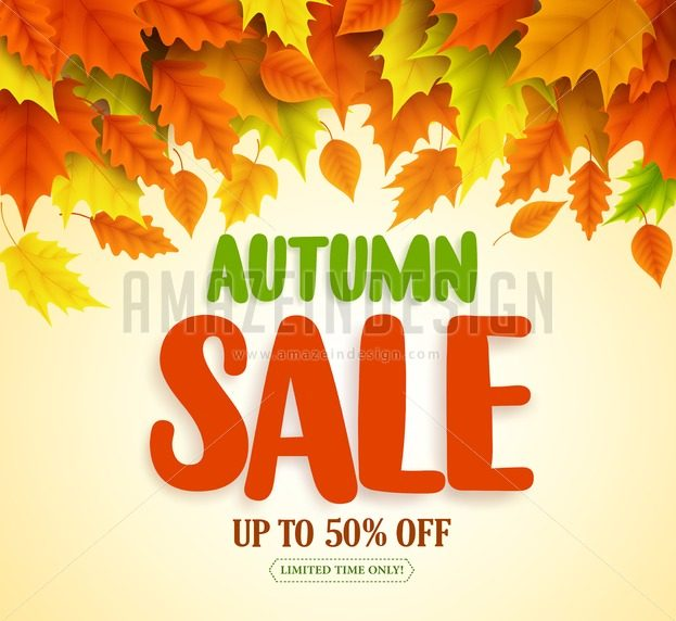 Autumn Sale Text Vector Banner Design with Fall Leaves - Amazeindesign