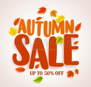 Autumn Sale Vector Banner Design with Maple Leaves - Amazeindesign