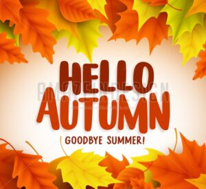 Hello Autumn Text Greetings in Vector Banner Design - Amazeindesign