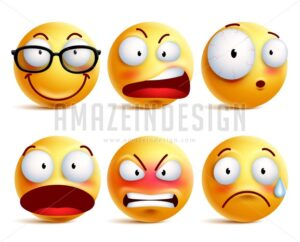 Smiley Face Emoticons Vector Set with Expressions - Amazeindesign