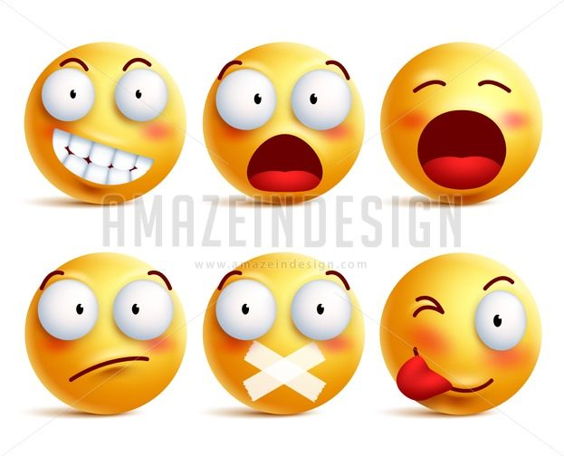 Smileys Vector Set. Smiley Face Icons or Emoticons - Amazeindesign