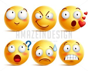 Smileys Vector Set. Yellow Smiley Face or Emoticons - Amazeindesign