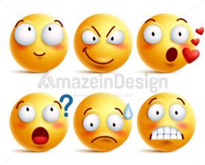 Smileys Vector Set. Yellow Smiley Face or Emoticons - Amazeindesign