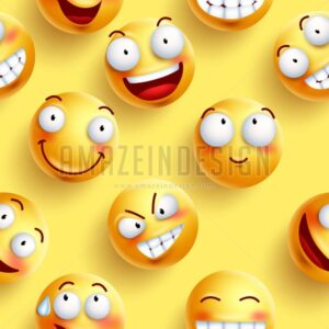 Smileys Wallpaper Seamless Vector Pattern - Amazeindesign
