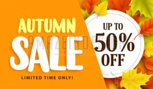 Autumn Sale Banner Design with Discount Label - Amazeindesign