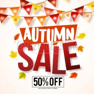 Autumn Vector Sale Banner with Hanging Streamers - Amazeindesign