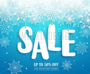 Winter Sale Vector Banner Design with Sale Text - Amazeindesign