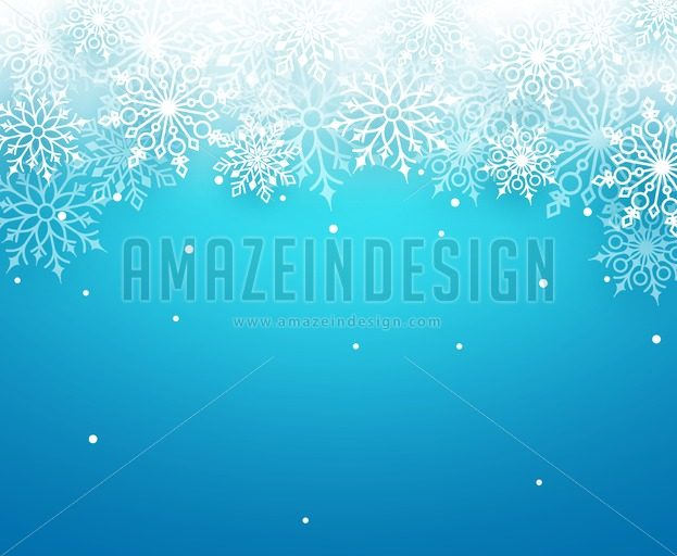 Winter Snow Vector Background with White Snowflakes - Amazeindesign